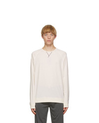 Paul Smith Off White Contrast Stitch Long Sleeve T Shirt