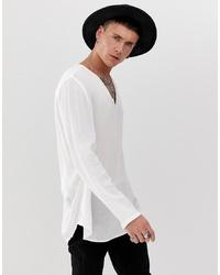 ASOS DESIGN Regular Fit Overhead Shirt In Crinkle Viscose In White