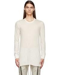 Rick Owens White Basic Long Sleeve T Shirt