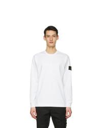 Stone Island White Cotton Long Sleeve T Shirt