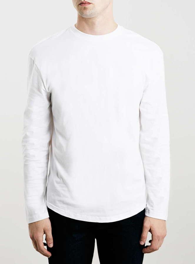 1278e2377c028 Topman White Dropped Shoulder Long Sleeve T Shirt, $20 | Topman ...