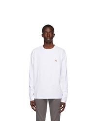 MAISON KITSUNÉ White Fox Head Long Sleeve T Shirt