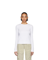 John Elliott White High Twist Cotton Classic Long Sleeve T Shirt