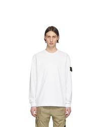 Stone Island White Jersey Long Sleeve T Shirt