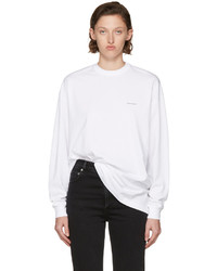 Balenciaga White Long Sleeve Logo T Shirt