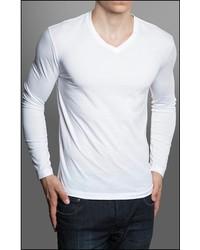 Gents White Long Sleeve V Neck T Shirt