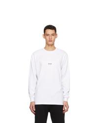 MSGM White Micro Logo Long Sleeve T Shirt