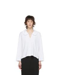 Comme Des Garcons Comme Des Garcons White Peter Pan Collar Long Sleeve T Shirt