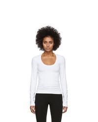 Helmut Lang White Scoop Neck Long Sleeve T Shirt