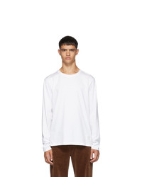 Thom Browne White Side Slit Relaxed Fit Long Sleeve T Shirt