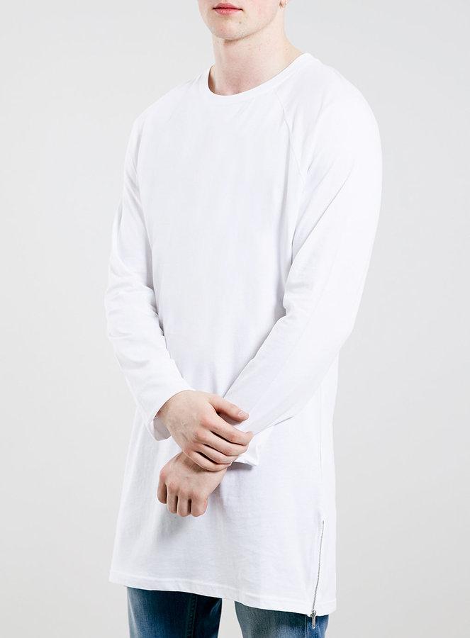 ... Topman White Skinny Longline Long Sleeve Side Zip T Shirt ... 27f6aecded5