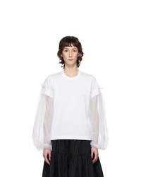 Noir Kei Ninomiya White Tulle Detail Long Sleeve T Shirt