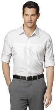 Van Heusen Traveler Striped Roll Tab Casual Button Down Shirt