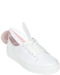20mm Leather Bunny Tail Sneakers