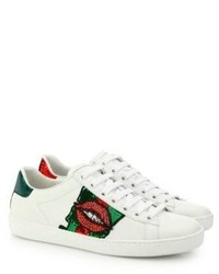 Gucci Ace Lip Embroidered Leather Low Top Sneakers