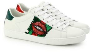 4f258ab52ee0 ... White Low Top Sneakers Gucci Ace Lip Embroidered Leather Low Top  Sneakers ...
