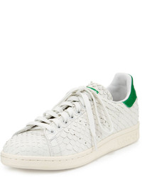 adidas Stan Smith Snake Cut Leather Sneaker Crystal Whitegreen