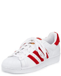 adidas Superstar Classic Fashion Sneaker Whitescarlet