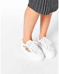 Asos Collection Dip Dye Cut Out Flatform Sneakers