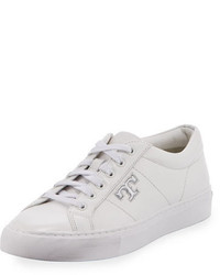 Tory Burch Chace Leather Low Top Sneaker Whitesilver