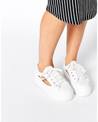 Asos Collection Dip Dye Cut Out Flatform Sneakers