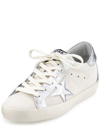 Golden Goose Deluxe Brand Golden Goose Star Embellished Leather Low Top Sneaker Whitesilver