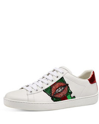 Gucci New Ace Embroidered Low Top Sneaker White