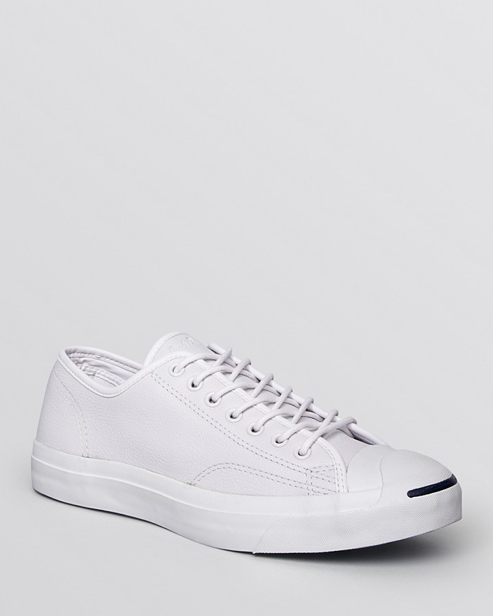 b9a90c019176ab ... White Low Top Sneakers Converse Jack Purcell Jack Tumbled Leather  Sneakers ...