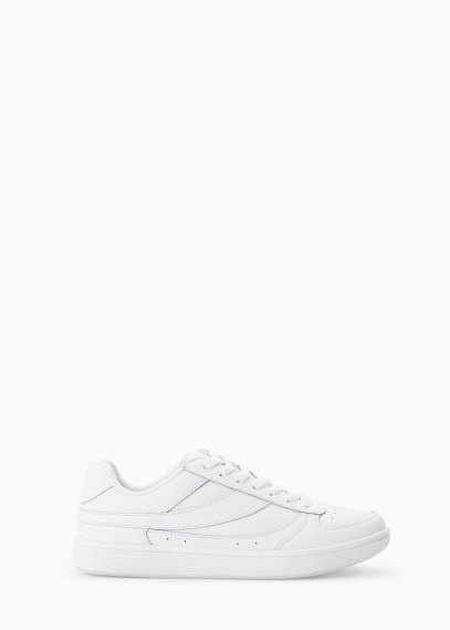 Mango Outlet Lace Up Leather Sneakers