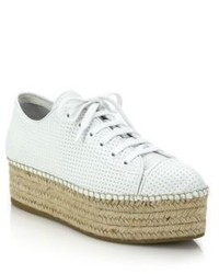 Miu Miu Perforated Leather Lace Up Esapdrille Sneakers