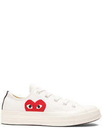 Comme des Garcons Play Large Emblem Low Top Canvas Sneakers