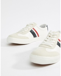 ASOS DESIGN Retro Trainers In White With Navy And Red Stripe