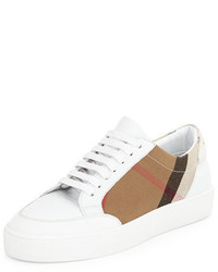 Burberry Salmond Check Leather Sneaker House Checkoptic White