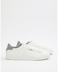 Jack & Jones Trainer In White With Back Taping