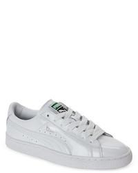 Puma White Basket Matte Shine Low Top Sneakers