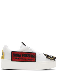 Kenzo White K Patch Platform Sneakers