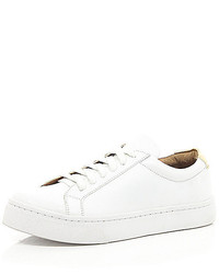 River Island White Lace Up Plimsoll Sneakers