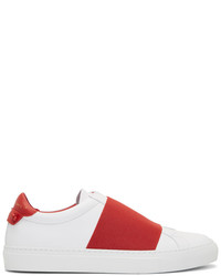 Givenchy White Red Urban Elastic Knots Sneakers
