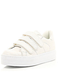 River Island White Snake Embossed Velcro Sneakers