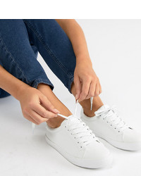 ASOS DESIGN Wide Fit Dustin Lace Up Trainers Pu