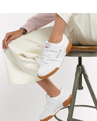Reebok Workout Plus White Trainers With Gum Sole
