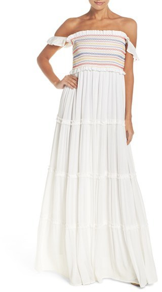 Tory Burch Smocked Cover Up Maxi Dress