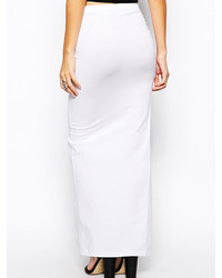 Choies White Side Slit Elastic Waist Maxi Pencil Skirt | Where to ...