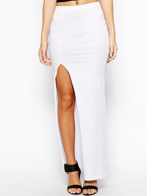 Long White Pencil Skirt