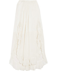 Ruffled cotton and silk blend maxi skirt white medium 3747223