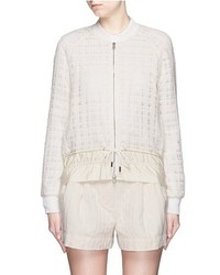 3.1 Phillip Lim Drawstring Hem Frayed Mesh Tweed Bomber Jacket