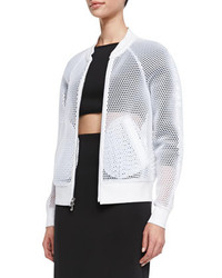 Milly Sheer Mesh Bomber Jacket