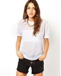21cc1d238c706 Women s White Mesh Crew-neck T-shirts by Asos