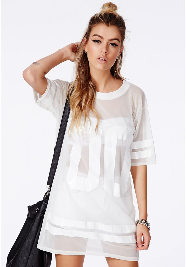 892cca75d5e8c1 Missguided Hugette White American Football Mesh T Shirt