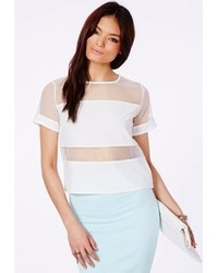 Missguided White Mesh Panel T Shirt